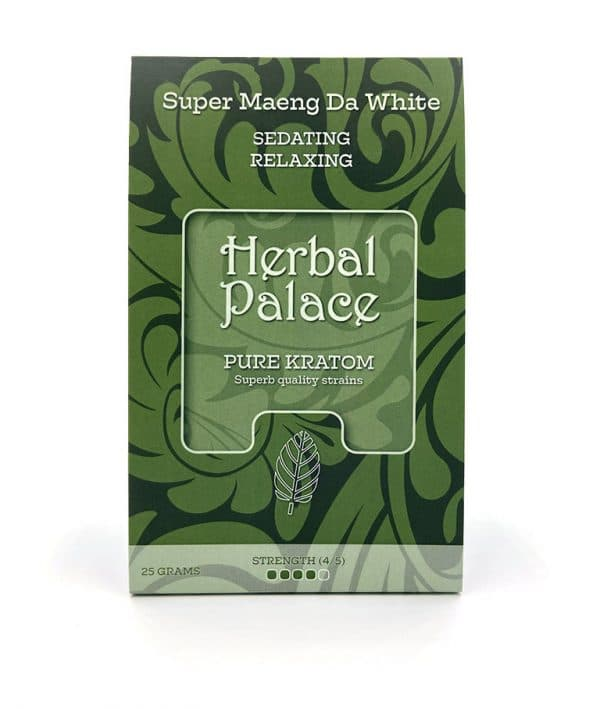 Kratom Maeng Da White van Herbal Palace. Rust, relax, ontspannend.